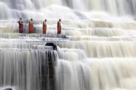 monks in the river