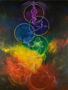 7 Chakra bubbles ascending